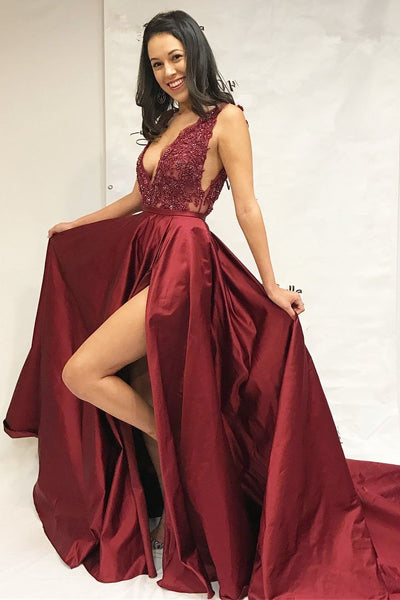 Dark Red Sexy V Neck Side Slit A-line Cheap Evening Prom Dresses,17498