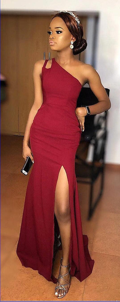 Dark Red Side Slit Mermaid Cheap Long Cheap Bridesmaid Dresses Online, WG642