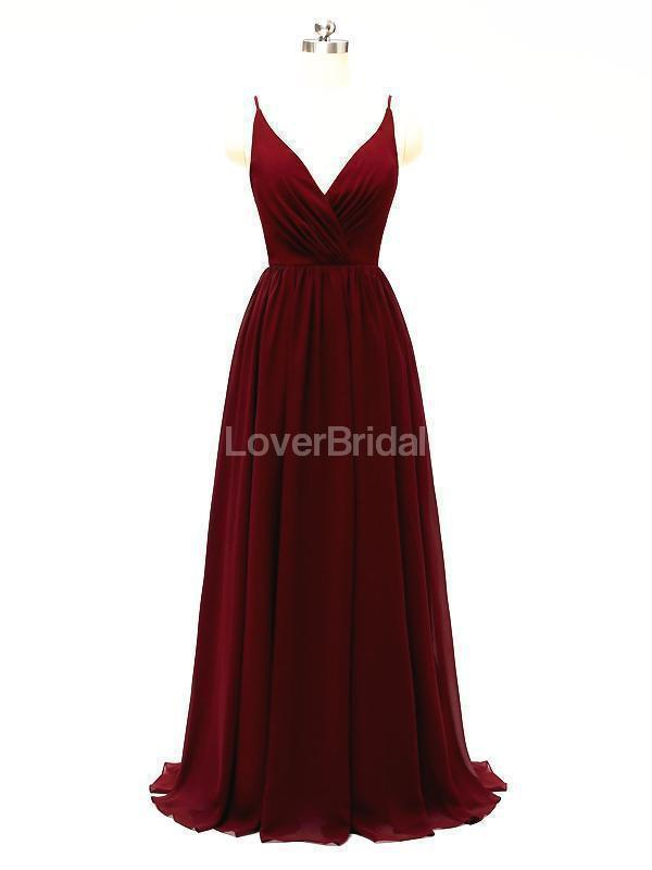 Dark Red Spaghetti Straps Chiffon Open Back Cheap Bridesmaid Dresses Online, WG584