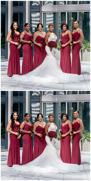 Dark Red Spaghetti Straps Mismatched Mermaid Short Cheap Bridesmaid Dresses Online, WG660