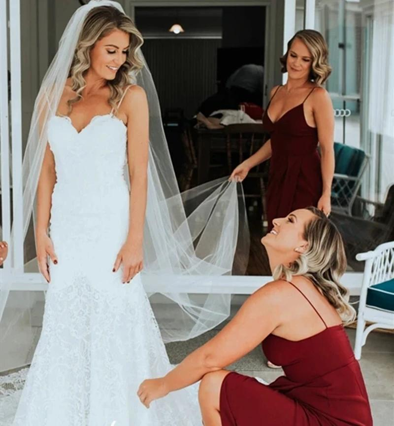 Dark Red Spaghetti Straps Tea Length Bridesmaid Dresses Online, Cheap Bridesmaids Dresses, WG730