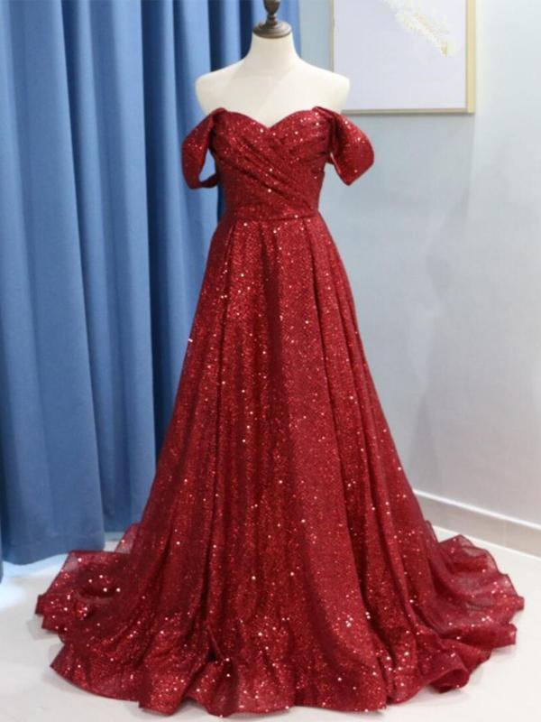 Dark Red Sparkly Off Shoulder A-line Long Evening Prom Dresses, Evening Party Prom Dresses, 12294