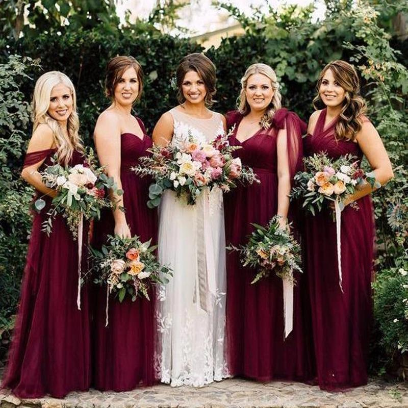 Dark Red Tulle Convertible Cheap Bridesmaid Dresses Online, WG780