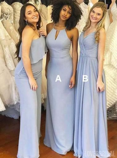 Dusty Blue Mismatched Long Chiffon Cheap Bridesmaid Dresses Online, WG279