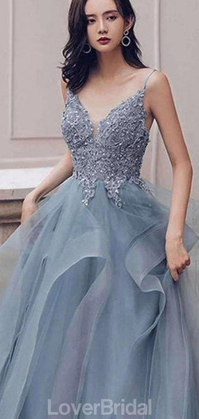 Dusty Blue V Neck Spaghetti Straps Lace Beaded Cheap Evening Prom Dresses, Evening Party Prom Dresses, 12170