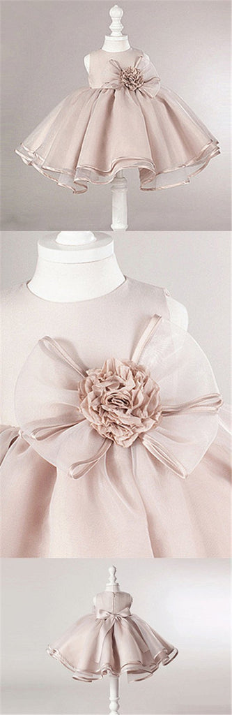 Dusty Pink Satin Tulle Zip Up Flower Girl Dresses, Lovely Little Girl Dresses with Flower Bow, FG030
