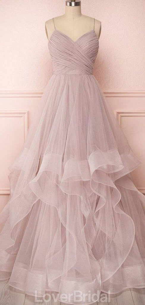 Dusty Pink Spaghetti Straps Ball Gown Cheap Evening Prom Dresses, Evening Party Prom Dresses, 12164