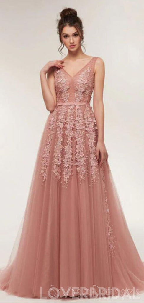 Dusty Pink V Neck Lace Beaded Long Evening Prom Dresses, Cheap Custom Sweet 16 Dresses, 18521