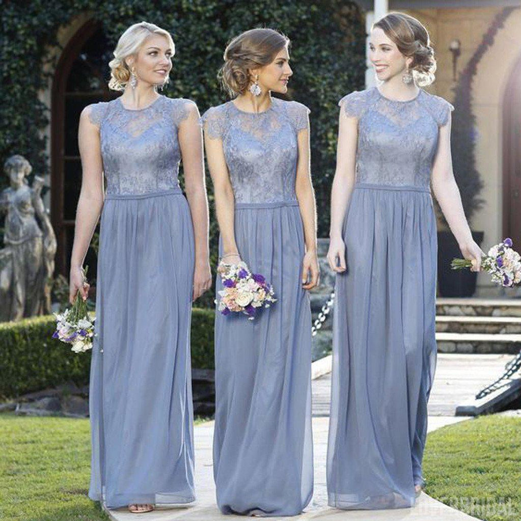 Elegant Lace Top Cap Sleeve Charming Small Round Neck Formal A Line Cheap Bridesmaid Dresses, WG147