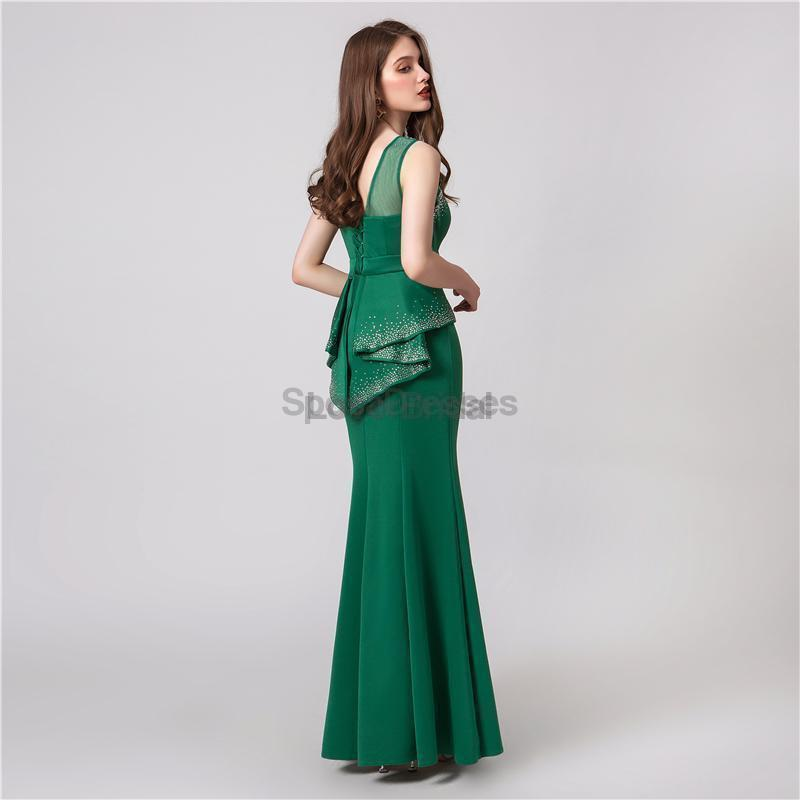 Elegant Scoop Emerald Green Mermaid Evening Prom Dresses, Evening Party Prom Dresses, 12103