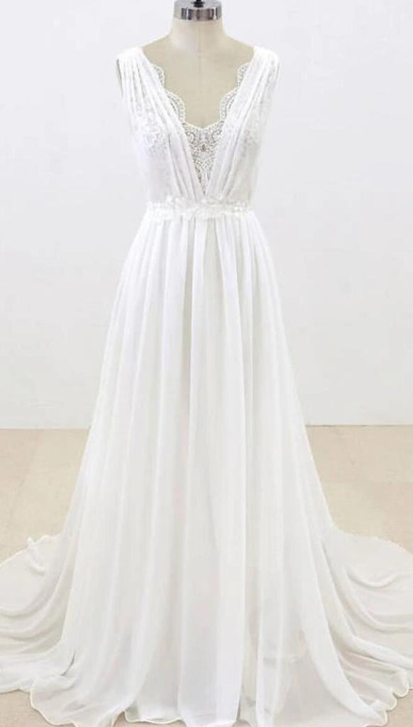 Elegant Unique V Neck Cheap Beach Wedding Dresses Online, WD374