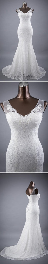 Elegant V-neck Lace Mermaid Wedding Party Dresses, Vantage Bridal Gown, WD0030