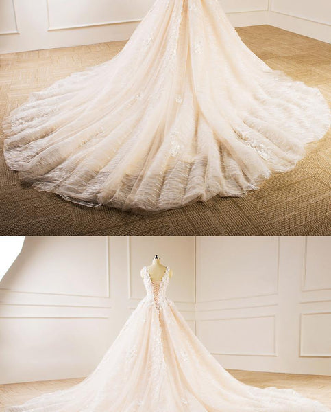 Elegant V Neckline Lace Long Tail Wedding Dresses, Custom Made Wedding Dresses, Cheap Wedding Gowns, WD218