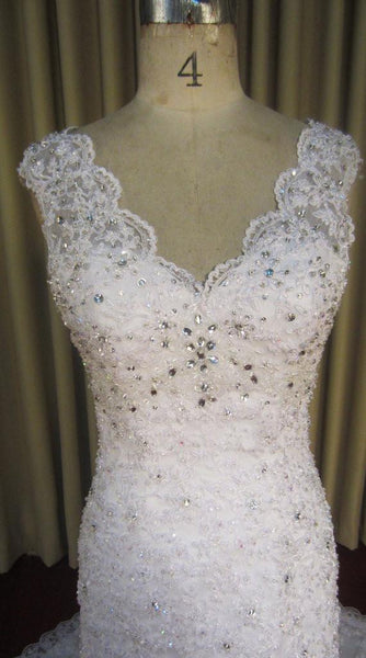 Elegant White Lace V Neck Beaded Inexpensive Long Wedding Bridal Dresses Gown, WG629