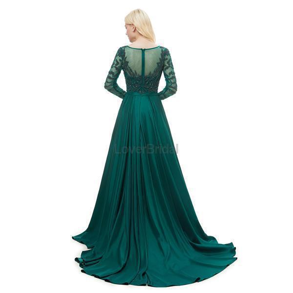 Emerald Green Long Sleeves Heavily Beaded Evening Prom Dresses, Evening Party Prom Dresses, 12051