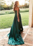 Emerald Green Side Slit Long Evening Prom Dresses, Cheap Custom Party Prom Dresses, 18580