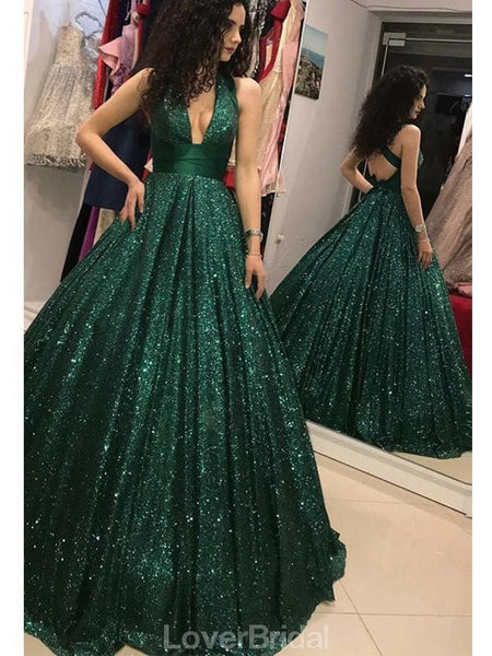 Emerald Green V Neck Sparkly Ball Gown Cheap Evening Prom Dresses, Evening Party Prom Dresses, 12156
