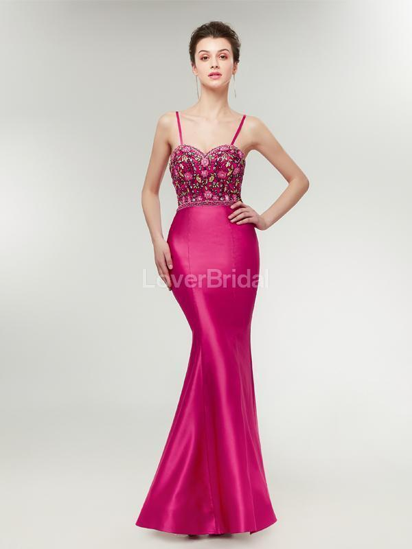 Fuchsia Mermaid Evening Prom Dresses, Evening Party Prom Dresses, 12019