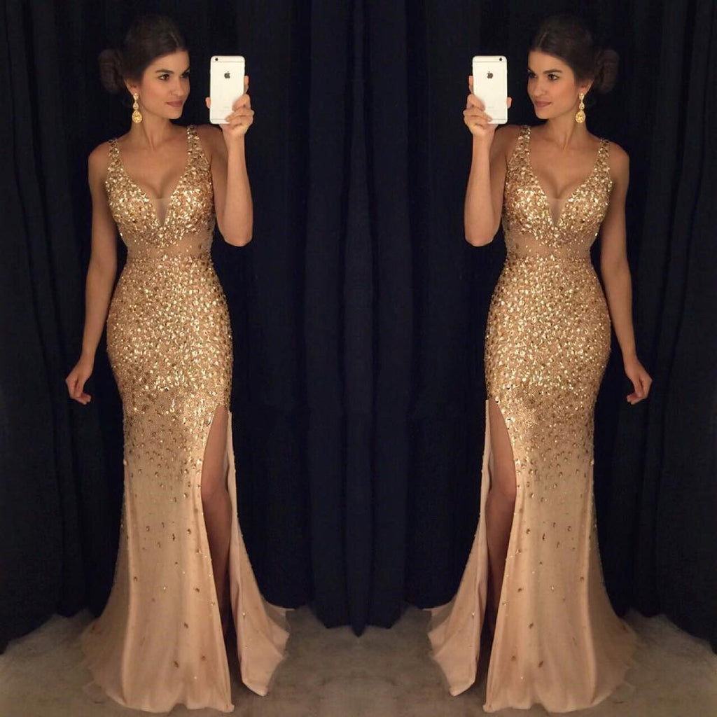 Gold Rhinestone Beaded Mermaid Evening Prom Dresses, Sexy See Through Party Prom Dress, Custom Long Prom Dresses, Cheap Formal Prom Dresses, 17052
