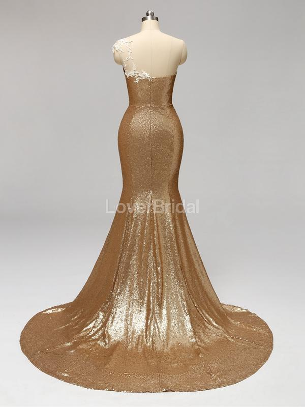 Gold Sequin One Shoulder Mermaid Long Cheap Bridesmaid Dresses Online, WG596