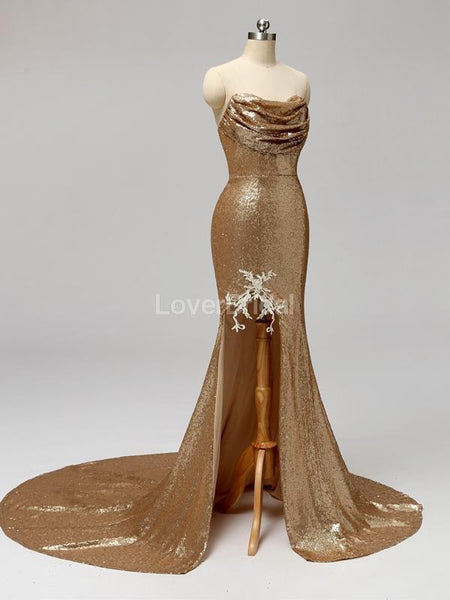 Gold Sequin Sweetheart Mermaid Cheap Bridesmaid Dresses Online, WG597