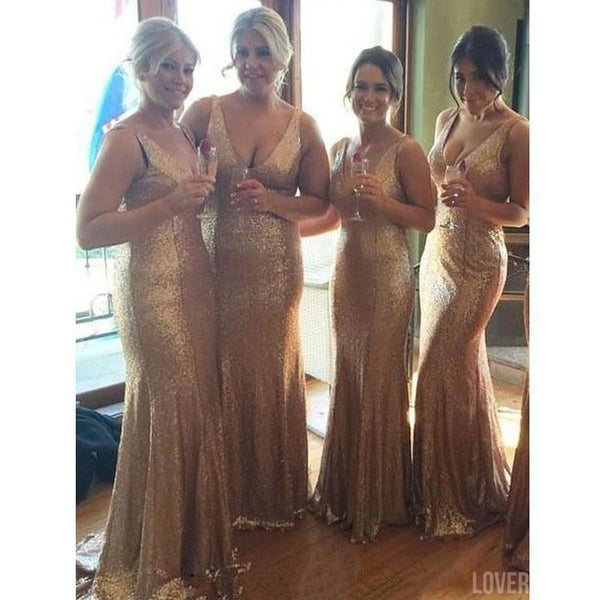 Gold Sequin V Neck Sexy Popular Cheap Long Wedding Bridesmaid Dresses, WG367