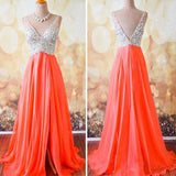 Gorgeous Coral Formal A Line V Neck Side Split Shinning Long Prom Dresses, WG202