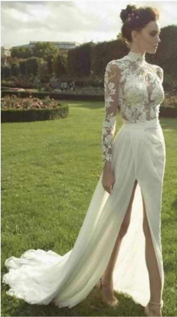 Gorgeous High Neck Long Sleeve See Through Lace Top Side Slit Chiffon Wedding Dress, WD0110