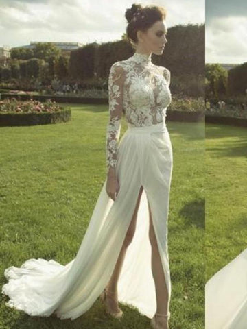 products/gorgeous-high-neck-long-sleeve-see-through-lace-top-side-slit-chiffon-wedding-dress-wd0110-3635674153047.jpg