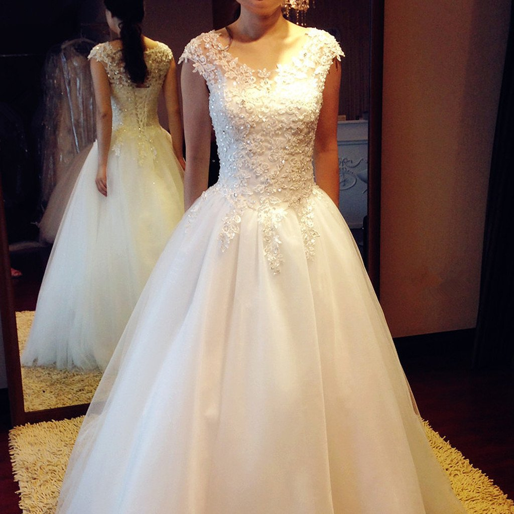 Gorgeous Long A-line Scoop Neck Lace Beaded Lace Up Wedding Dresses, WD0193
