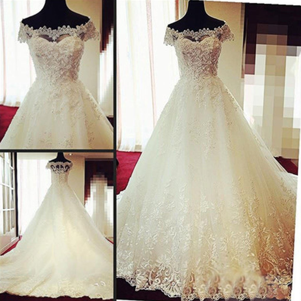 Gorgeous Off Shoulder Cap Sleeve Vantage Lace Wedding Party Dresses, Dresses For Wedding, WD0004