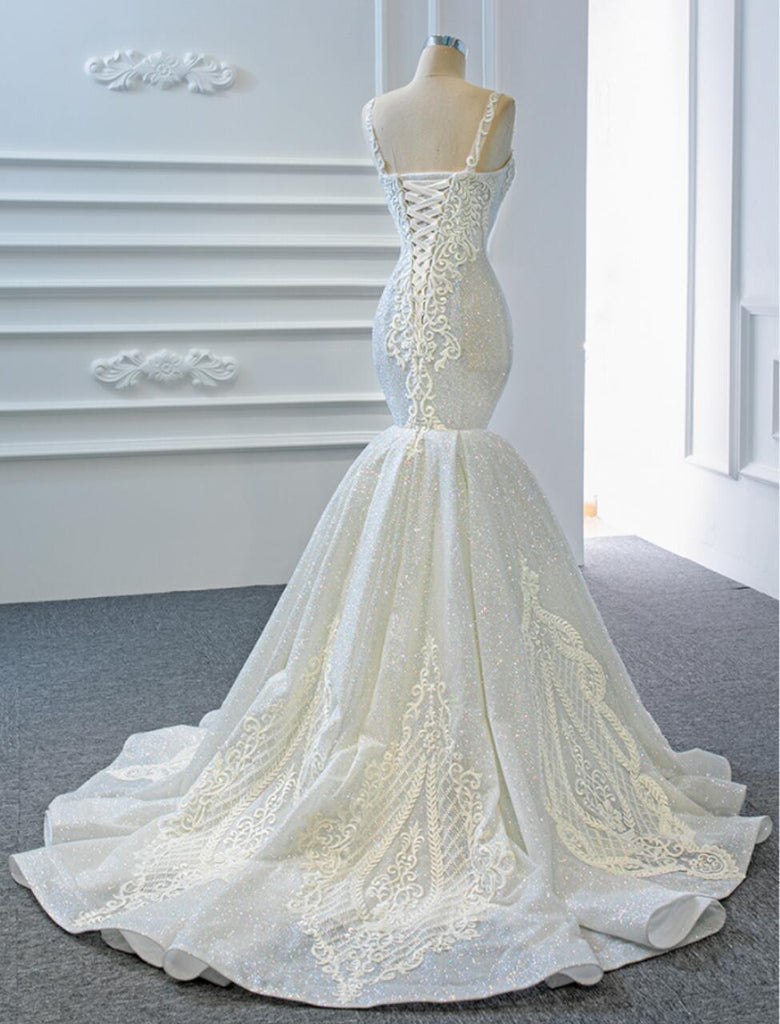 Gorgeous V Neck Lace Mermaid Wedding Dresses, Cheap Wedding Gown, WD720