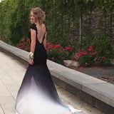 Gradient Black White Short Sleeve Sexy Side Slit Lace Open Back Long Prom Dress, WG270