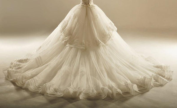 Grand Sweetheart Lace Hem Skirt Long Wedding Dresses, Custom Made Wedding Dresses, Affordable Wedding Bridal Gowns, WD229