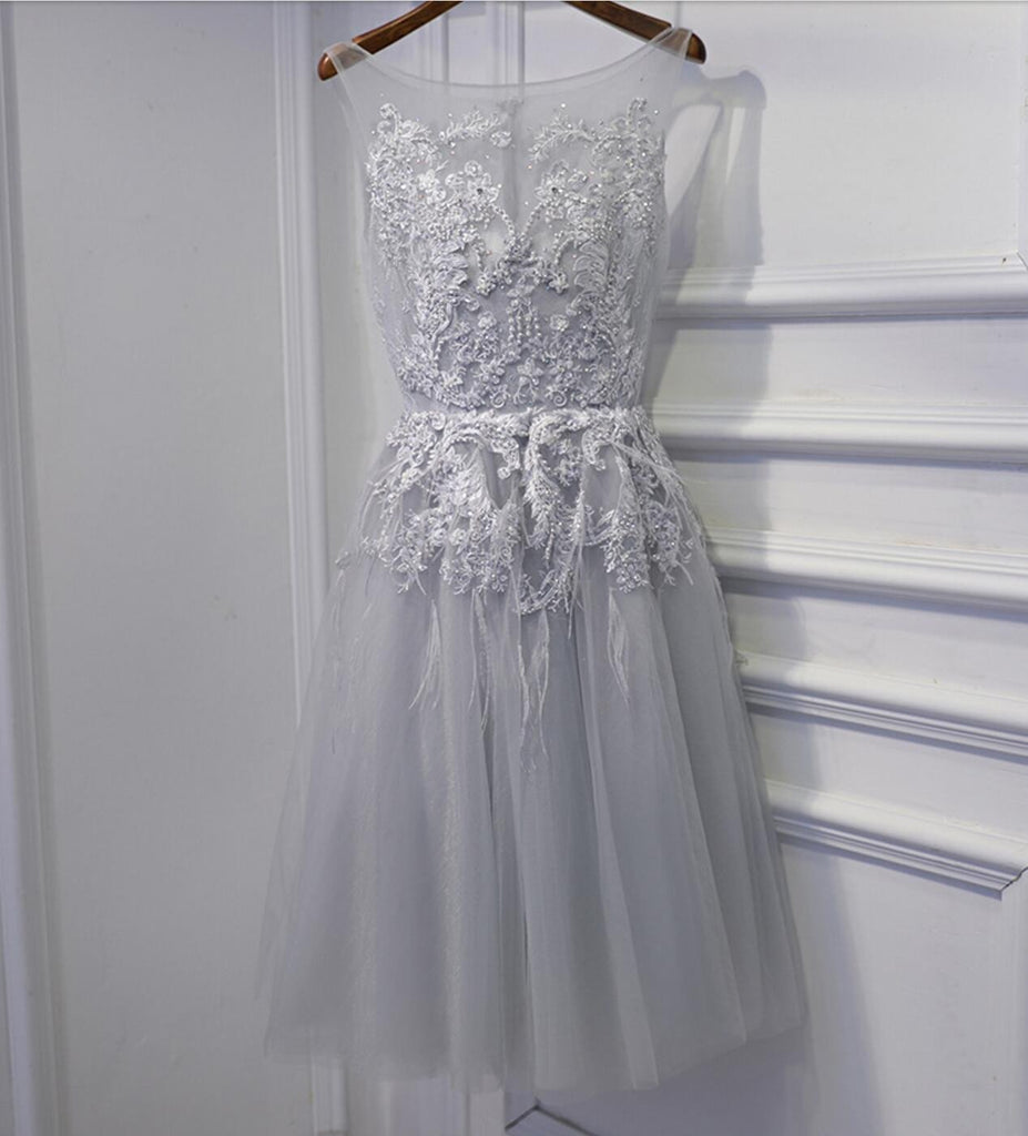 Gray Lace Beaded Homecoming Prom Dresses, Affordable Short Party Prom Dresses, Perfect Homecoming Dresses, CM262