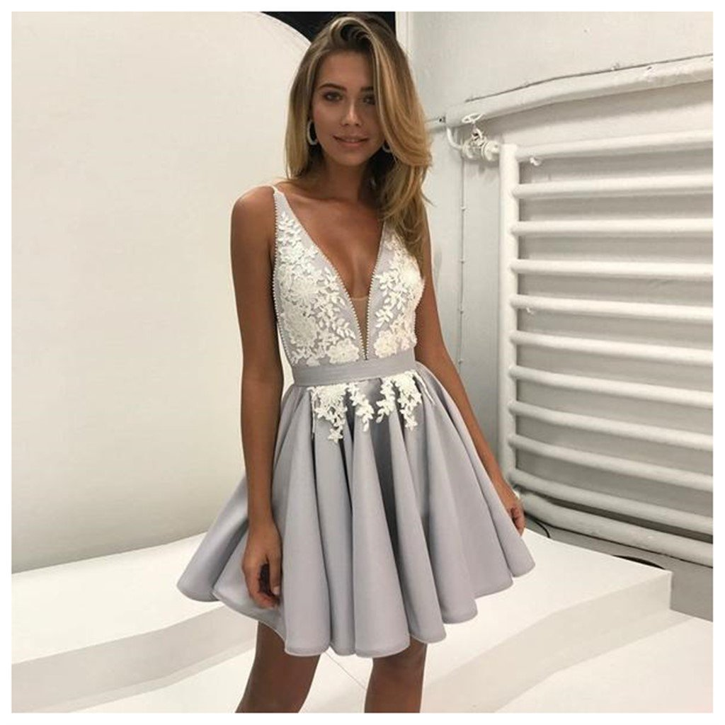 Gray V Neckline Lace Short Homecoming Prom Dresses, Affordable Short Party Prom Sweet 16 Dresses, Perfect Homecoming Cocktail Dresses, CM374