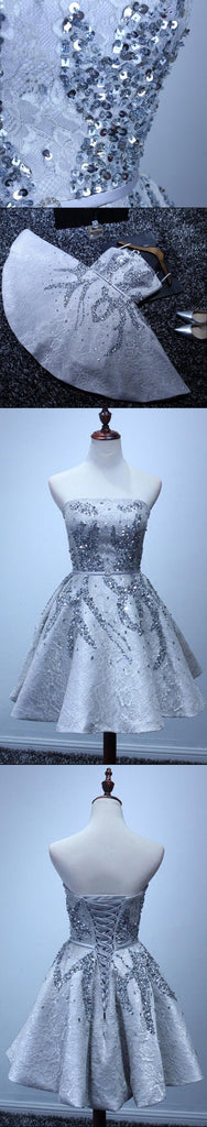Grey Lace Beaded Homecoming Prom Dresses, Affordable Corset Back Short Party Prom Dresses, Perfect Homecoming Dresses, CM233