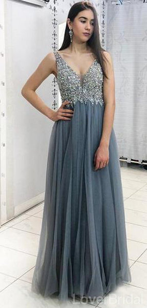 Grey Lace Beaded V-Neck Cheap Long Evening Prom Dresses, Evening Party Prom Dresses, 18637