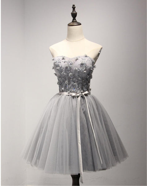 Grey Lace Tulle Short Sweetheart Homecoming Prom Dresses,  Short Party Prom Dresses, Graduation Dresses, CM202
