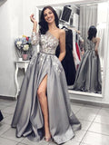 Grey One Shoulder Long Sleeves Lace Long Evening Prom Dresses, Cheap Custom Sweet 16 Dresses, 18469