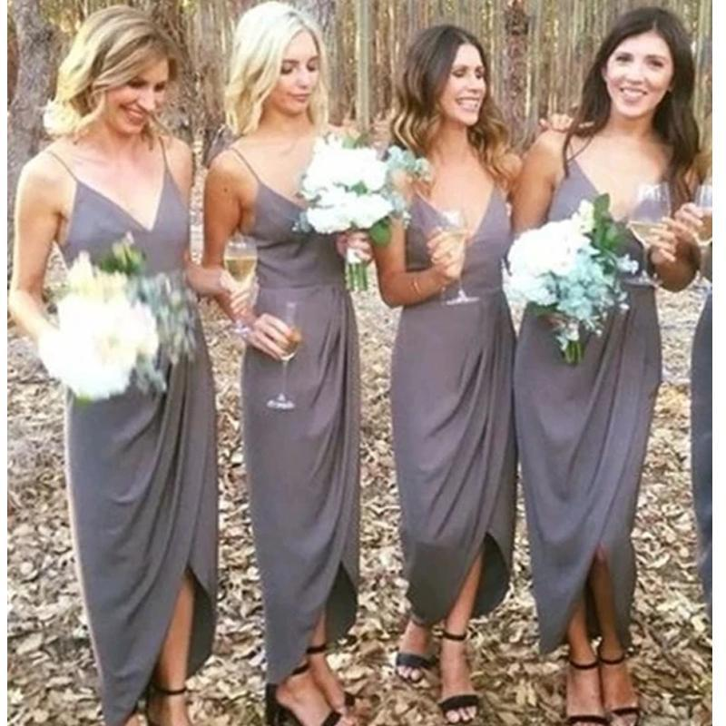 Grey Spaghetti Straps Side Slit Bridesmaid Dresses Online, Cheap Bridesmaids Dresses, WG731