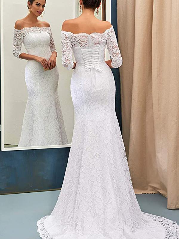 Half Sleeves Lace Mermaid Cheap Wedding Dresses, Cheap Wedding Gown, WD705