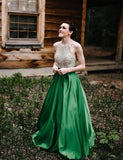 Halter Beaded Green Skirt A-line Long Evening Prom Dresses, Cheap Sweet 16 Dresses, 18310