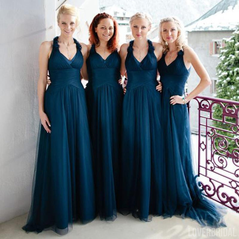 Halter Dark Teal Tulle Elegant Formal On Sale Long Bridesmaid Dresses, WG373