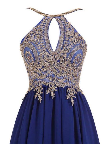 Halter Gold Lace Beaded Chiffon Short Cheap Homecoming Dresses Online, CM730