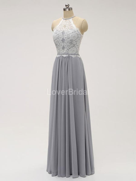 Halter Lace Long Chiffon Grey Cheap Bridesmaid Dresses Online, WG583