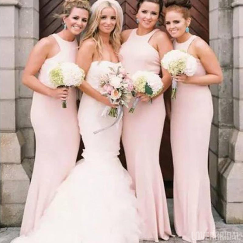 Halter Mermaid Blush Pink Cheap Long Wedding Bridesmaid Dresses, WG1222