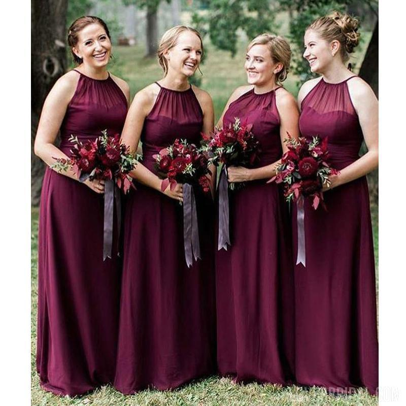 Halter Plum Chiffon Cheap Long Bridesmaid Dresses Online, WG575