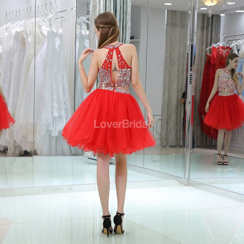Halter Two Pieces Red Rhinestone Cheap Homecoming Dresses Online, Cheap Short Prom Dresses, CM805
