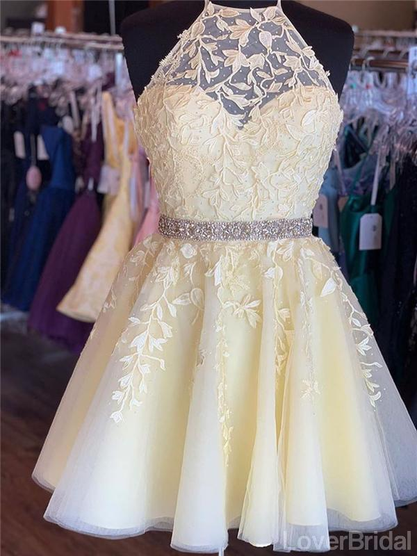 Halter Yellow Lace Beaded Short Cheap Homecoming Dresses Online, CM824
